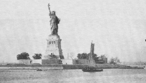 The Statue of Liberty as seen by immigrants as the ships that brought them to America entered New York Harbor