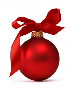 16484535 - red christmas ball with ribbon